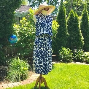 Vince Ikat Print Blue White Cargo Maxi dress